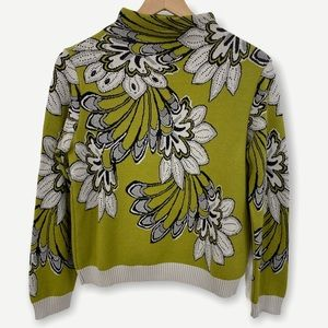 Tricot Chic Italian Green Floral Sweater w/ Beads